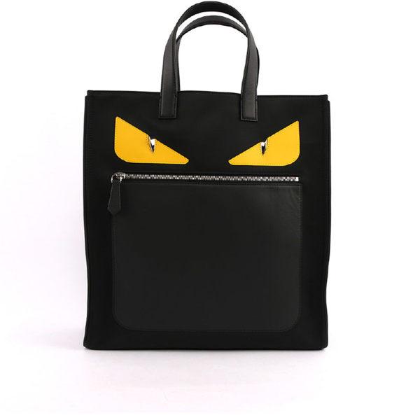 【FENDI】黃眼睛拼牛皮 BUGS HANDBAG手提包(黑色)