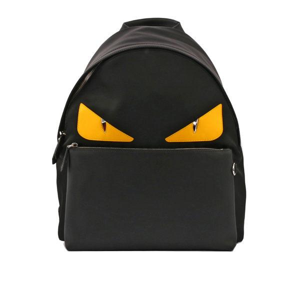 【FENDI】皮革拼尼龍黃眼睛BUGS BACKPACK(黑色)