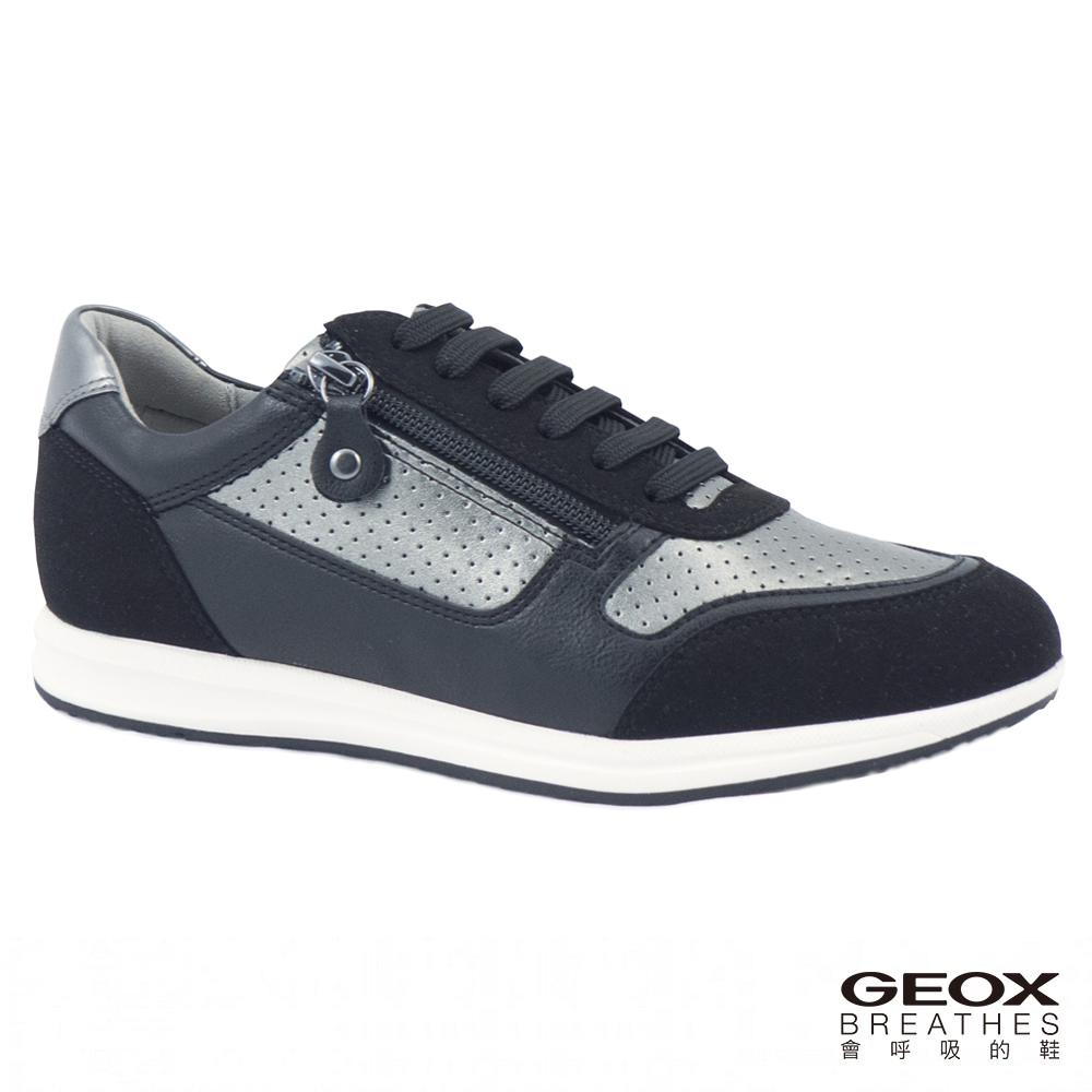 GEOX - D AVERY A  休閒運動鞋  金屬/黑色(D74H5A0AJAU1223)