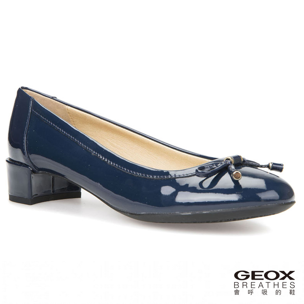 GEOX - D CAREY D  義大利透氣鞋 跟鞋 牛漆皮 海軍藍(D82V8D000664002)