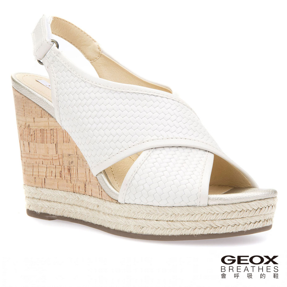 GEOX - D JANIRA C   義大利透氣鞋 楔型鞋 編織牛皮 白色(D82P6C06RBC1002)