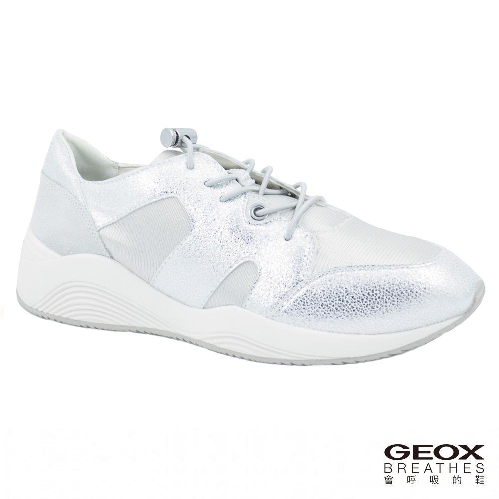 GEOX - D OMAYA D  義大利休閒運動鞋  牛麂皮 銀/白色(D820SD0QD150628)