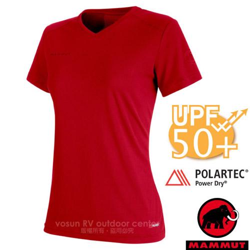 【瑞士 MAMMUT 長毛象】Sertig T-Shirt 女新款 短袖圓領排汗衣(UPF50抗UV).彈性運動T恤/Power Dry吸濕快乾/00140-3471 岩漿紅