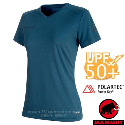 【瑞士 MAMMUT 長毛象】Sertig T-Shirt 女新款 短袖圓領排汗上衣(UPF50抗UV).彈性運動T恤/Power Dry吸濕快乾/00140-5021 冠藍鴉