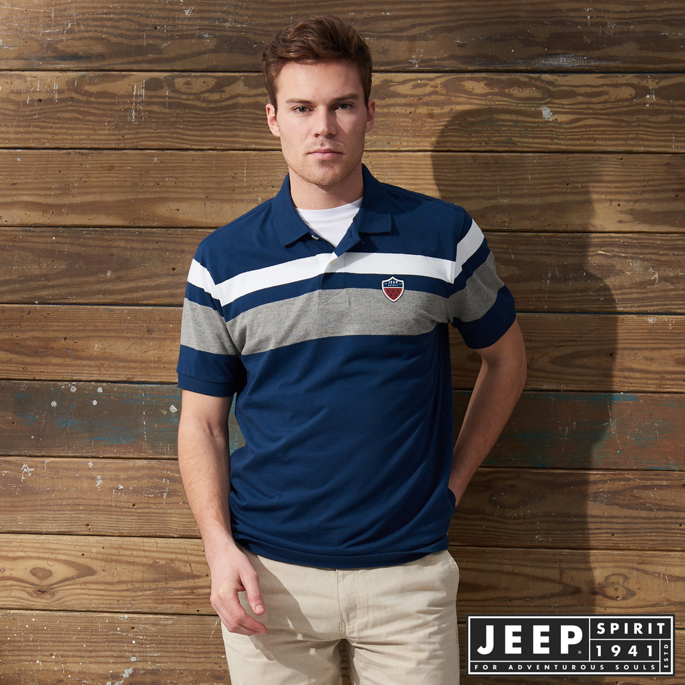 JEEP撞色拼接簡約短袖POLO衫-藍