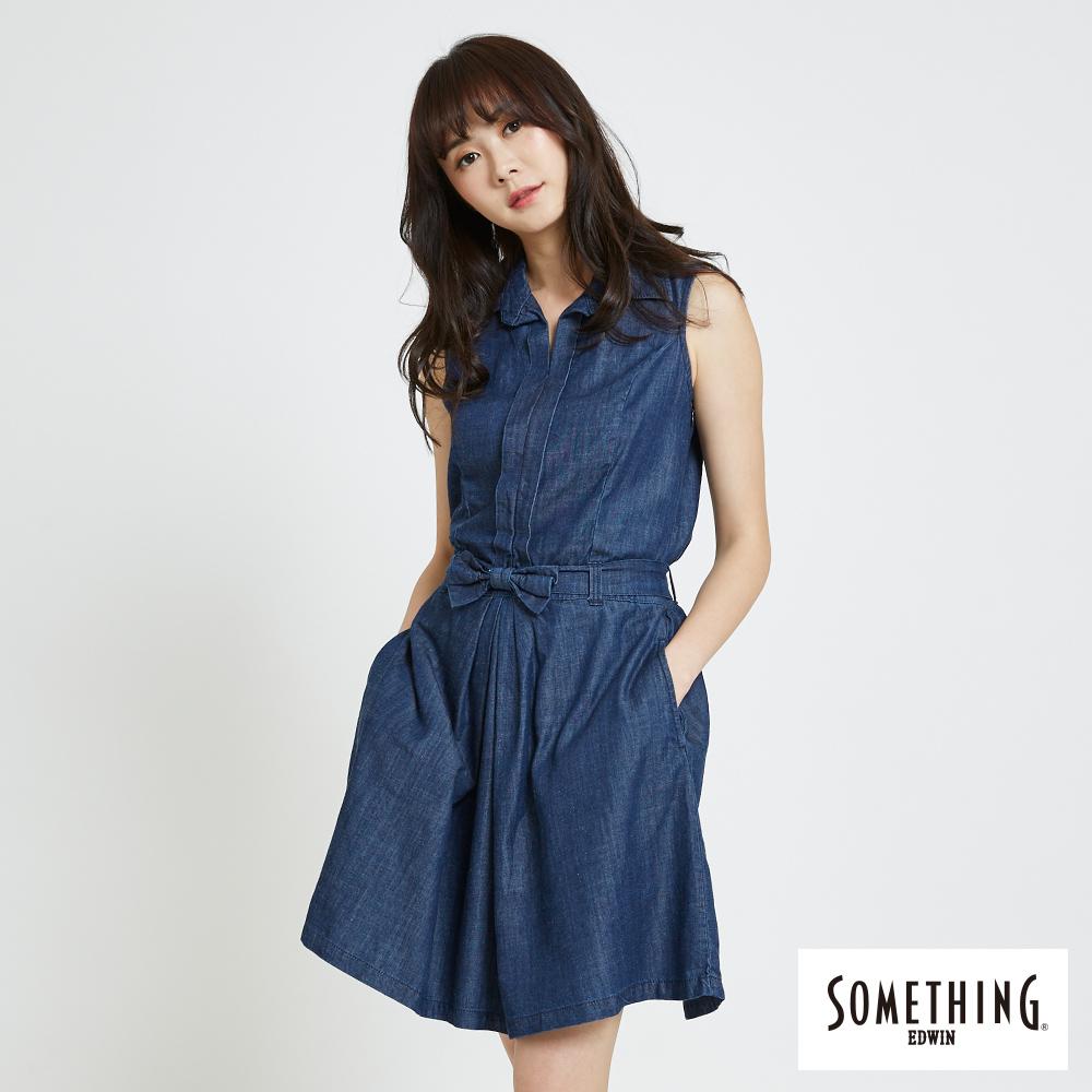 SOMETHING 無袖開襟洋裝-女-原藍色