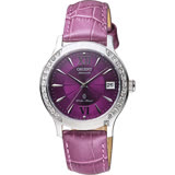 ORIENT 東方 ELEGANT 璀燦晶鑽機械女錶-紫/36mm FER2E005V