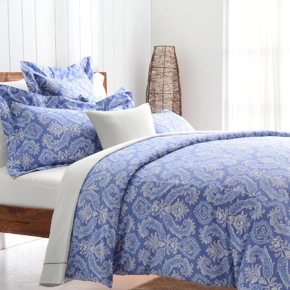 Cozy inn 湛青-深藍 300織精梳棉四件式兩用被床包組(加大)