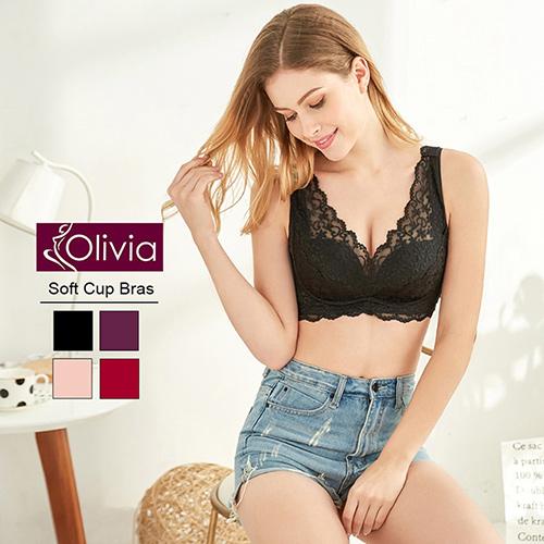 【Olivia】法國進口精緻刺繡蕾絲無鋼圈聚攏內衣(黑色)