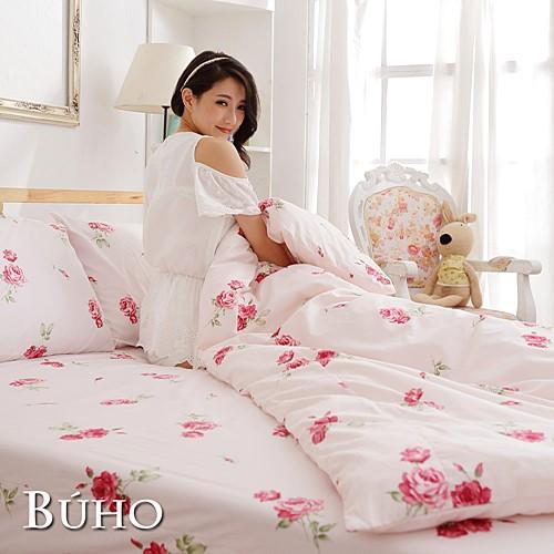 BUHO《夏日玫瑰-紅》雙人三件式精梳純棉床包組