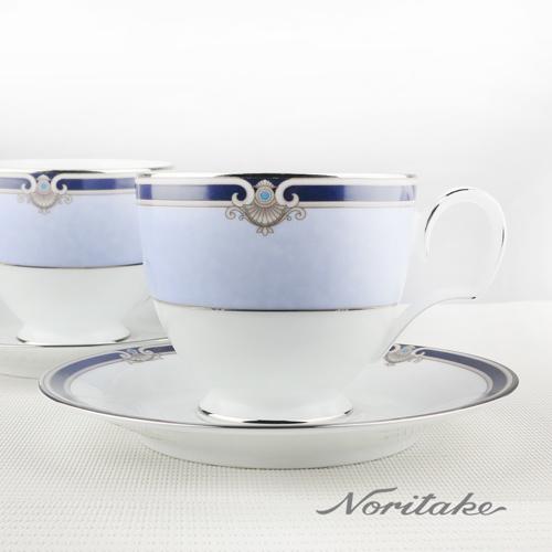 【日本NORITAKE】巴別克銀邊咖啡對杯_兩組 (4杯4盤)