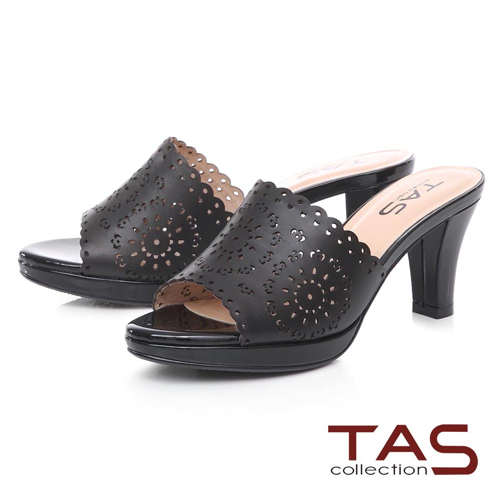 TAS 鏤空波浪雕花高跟涼拖鞋-優雅黑