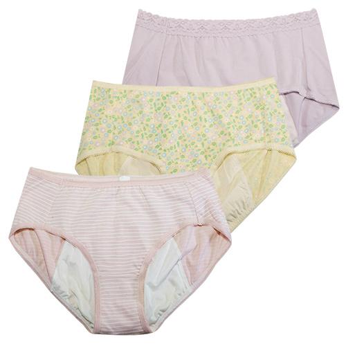【黛安芬】柔棉生理褲內褲 M-EL(繽紛三色包)