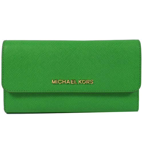 MICHAEL KORS 金字LOGO防刮皮三折扣式零錢長夾.綠
