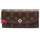 Louis Vuitton LV M64202 EMILIE 經典花紋花飾扣式零錢長夾 (預購)