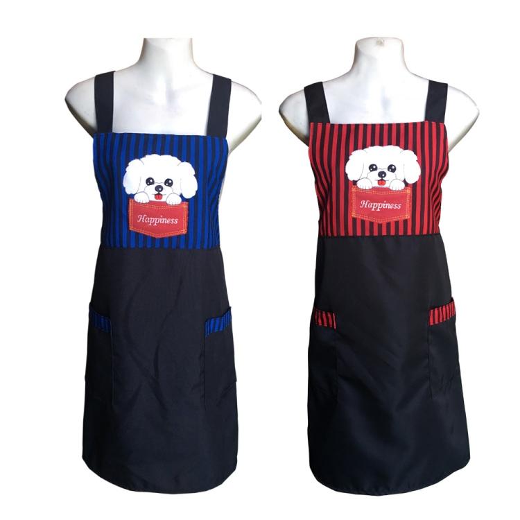 快樂狗電繡口袋圍裙GS558-藍紅二入任組