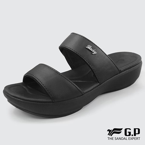 【G.P 時尚簡約厚底雙帶拖鞋】G8539W-黑色(SIZE:36-39 共二色)