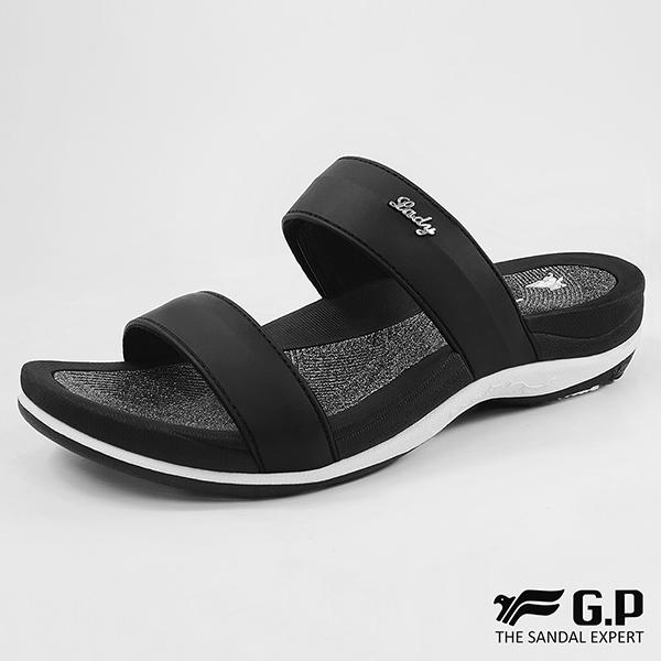 【G.P 亮蔥優雅舒適雙帶拖鞋】G8538W-黑色(SIZE:35-40 共四色)