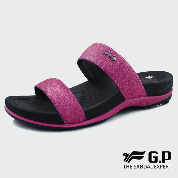 【G.P 亮蔥優雅舒適雙帶拖鞋】G8538W-黑桃色(SIZE:35-40 共四色)