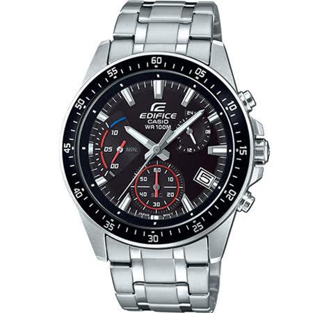 【CASIO 卡西歐】卡西歐EDIFICE大錶徑三眼計時鋼帶錶-黑藍(EFV-540D-1A2 台灣公司貨)
