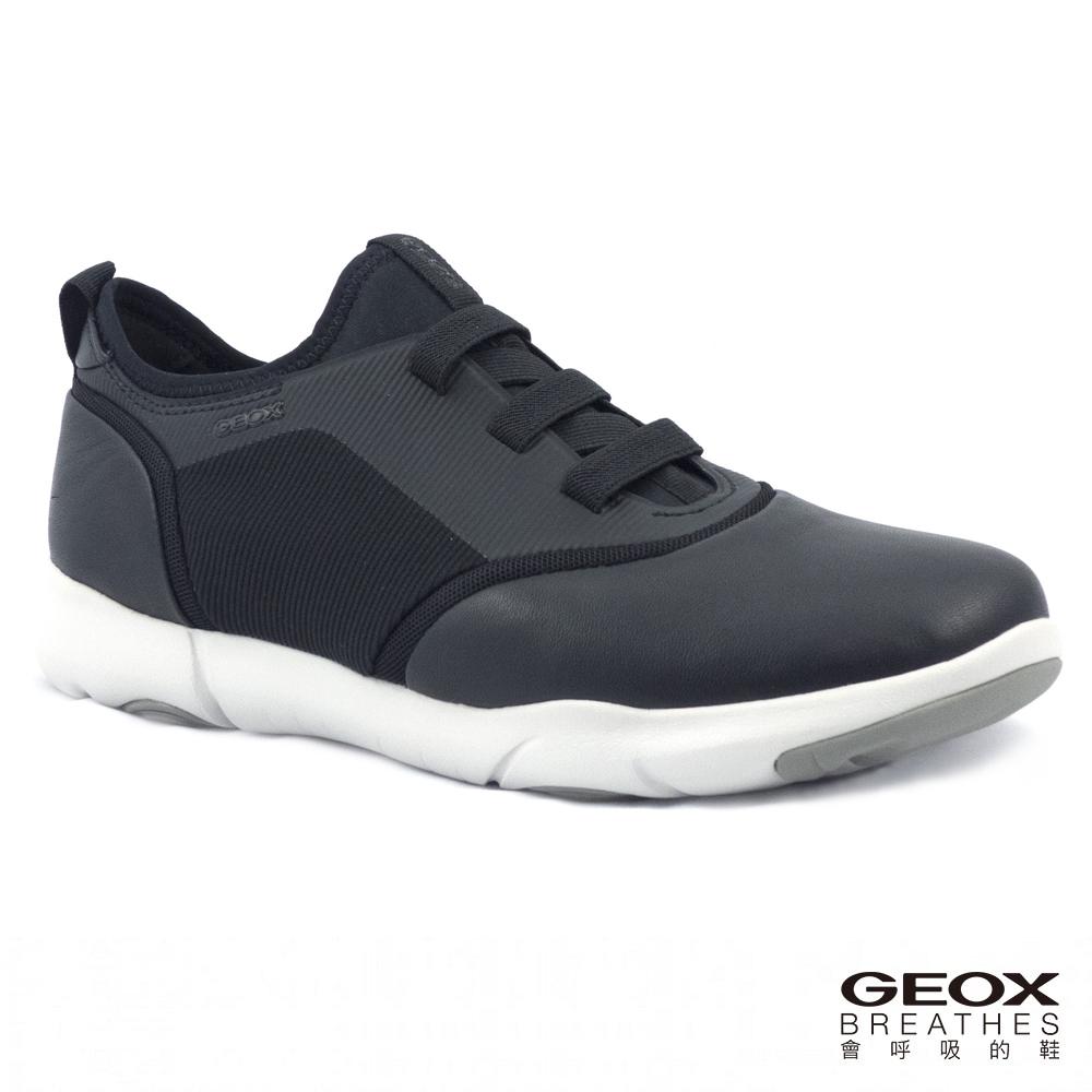 GEOX - U NEBULA S B  透氣運動鞋  牛皮 黑色(U825AB085119999)