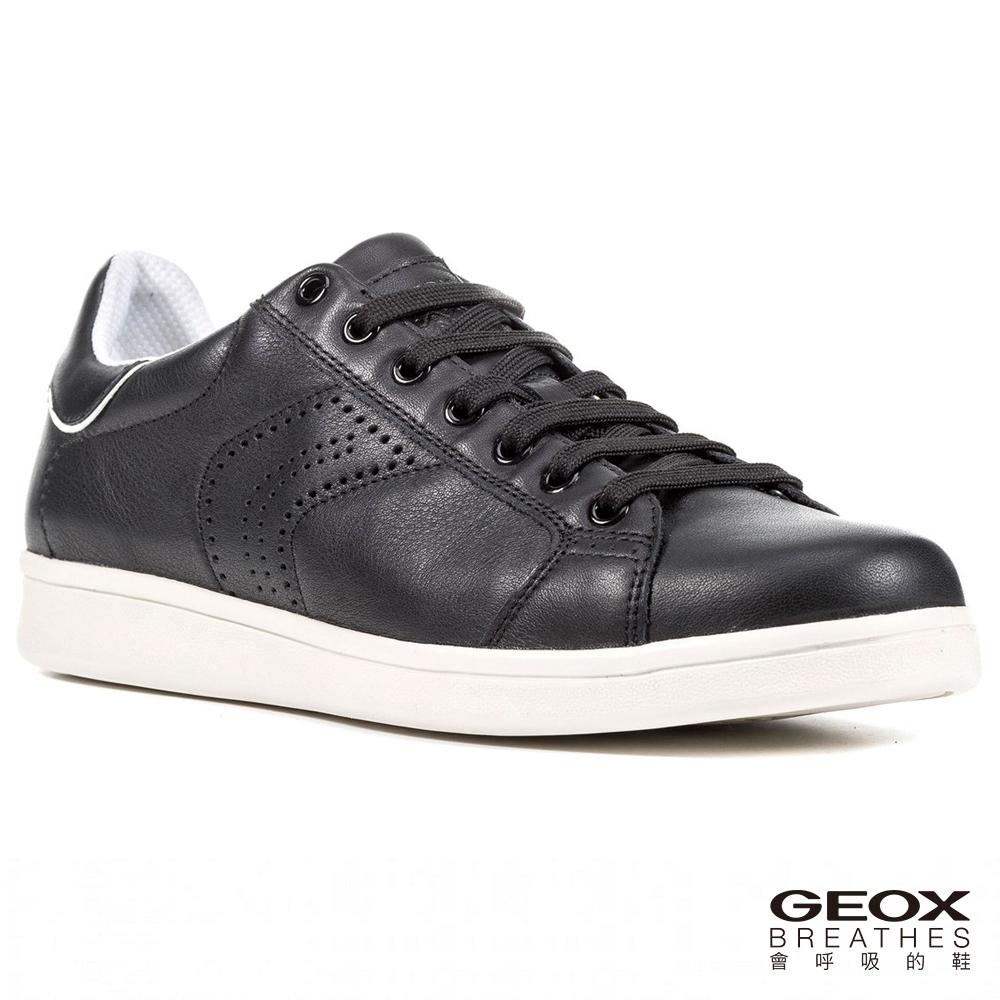 GEOX - U WARRENS B  透氣休閒鞋  牛皮 黑色(U620LB000859999)