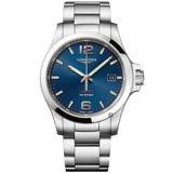 LONGINES浪琴 征服者系列V.H.P.萬年曆手錶-藍x銀/41mm L37264966