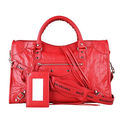 BALENCIAGA巴黎世家CITY系列印花LOGO小羊皮銀釦手提斜背機車包(紅)