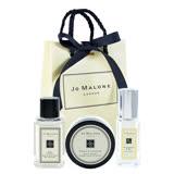 Jo Malone 英國經典香氛三件組 黑莓與月桂葉小香9ml+羅勒與橙花純露沐浴膠15ml+含羞草與豆蔻乳霜15ml+原裝提袋