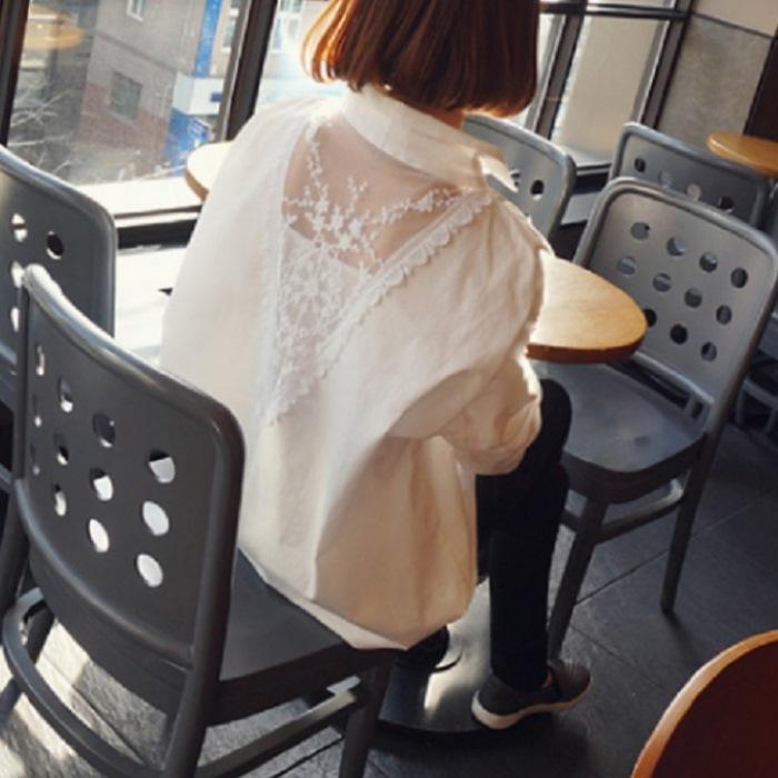 韓版V領蕾絲拼接後背襯衫THR0009-預購+現貨【CosmoPINK 粉紅教主】