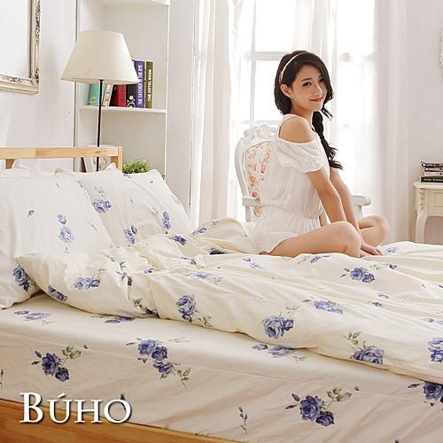 BUHO《夏日玫瑰-藍》雙人加大三件式精梳純棉床包組