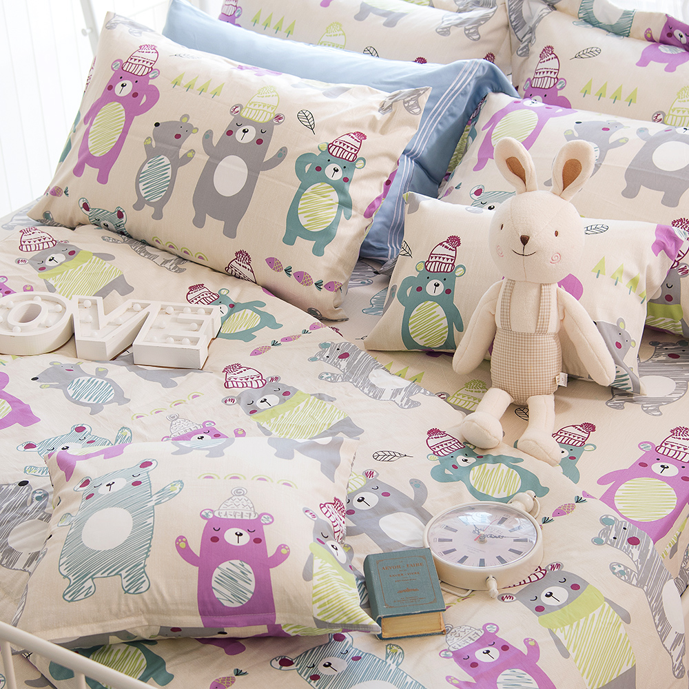 OLIVIA 《 快樂熊 》 標準單人床包美式枕套兩件組 可愛童趣風