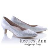 Keeley Ann都市輕熟~唯美流線型水鑽金屬光尖頭高跟鞋(銀色835258127)