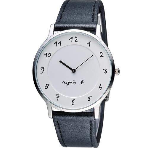 agnes b.法式優雅手寫體時標時尚腕錶 BJ5004X1  VJ20-K240LB