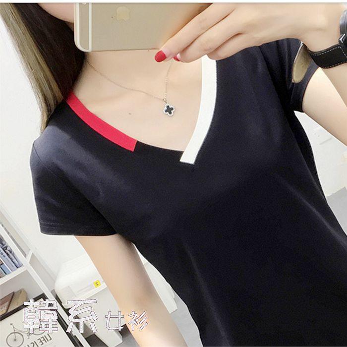 【韓系女衫】M~2XL彩邊V領短袖合身T恤2色