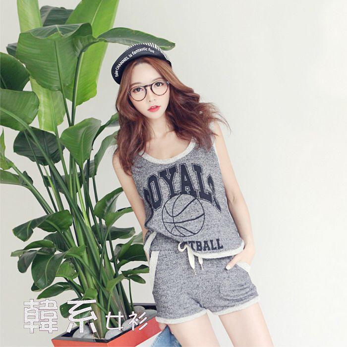 【韓系女衫】M~2XL毛圈料背心+短褲運動套裝