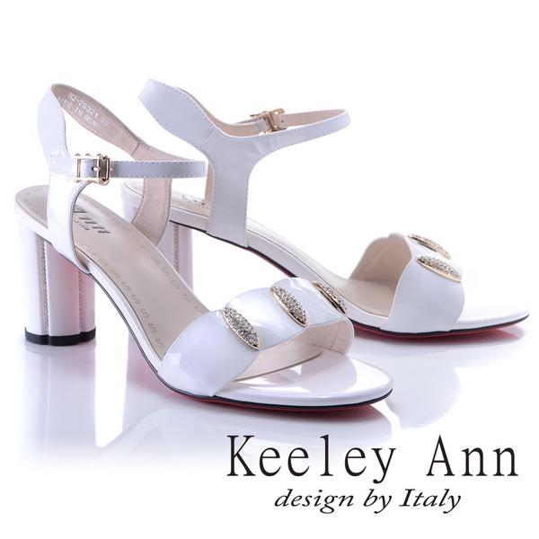 Keeley Ann獨特魅力~閃耀水鑽飾釦真皮高跟涼鞋(白色822932140-Ann系列)