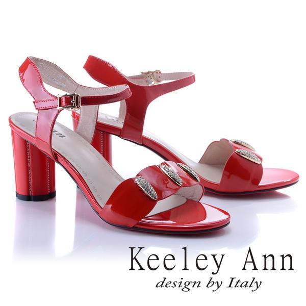 Keeley Ann獨特魅力~閃耀水鑽飾釦真皮高跟涼鞋(紅色822932150-Ann系列)