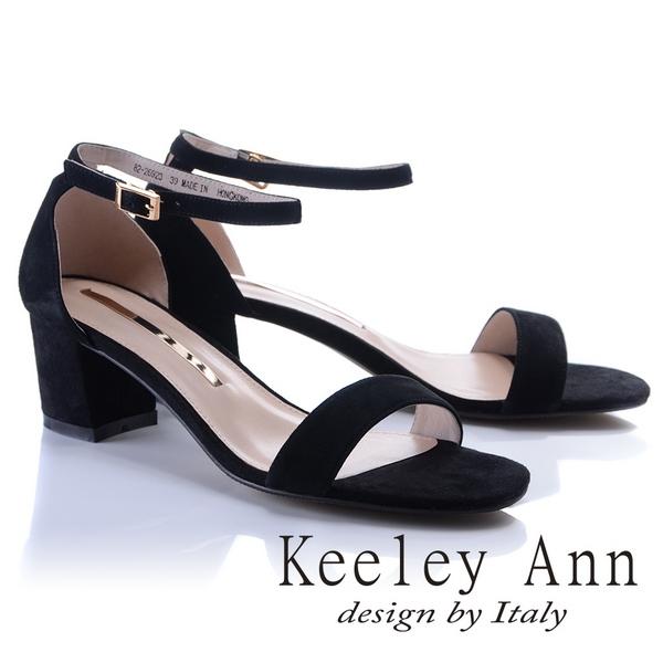 Keeley Ann優雅迷人~素面ㄧ字飾釦全真皮中跟涼鞋(黑色822692310-Ann系列)