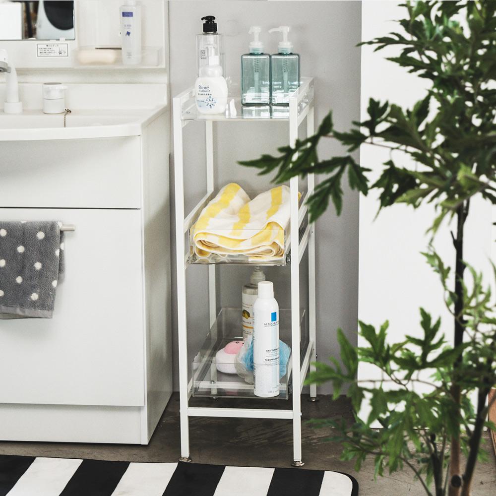 Peachy life 日系壓克力間隙三層收納架/置物架/縫隙架/浴室收納架