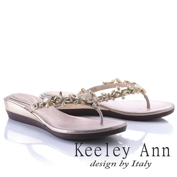 Keeley Ann優雅女神~唯美晶鑽蝴蝶楔形夾腳拖鞋(玫瑰金色831008189)