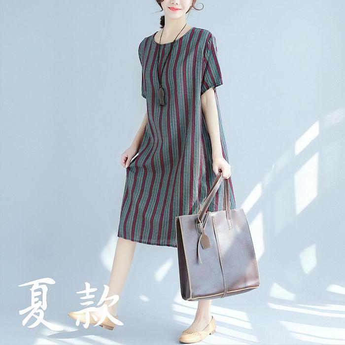 【Maya 名媛】飄逸薄料直條紋短袖洋裝-20180412-5