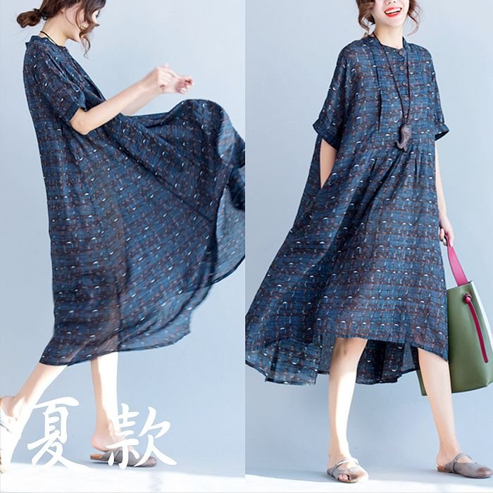 【Maya 名媛】L/XL 氣質學院風格紋洋裝-20180412-9