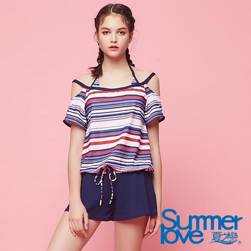 【夏之戀SUMMER LOVE】大女條紋連身褲三件式S18727
