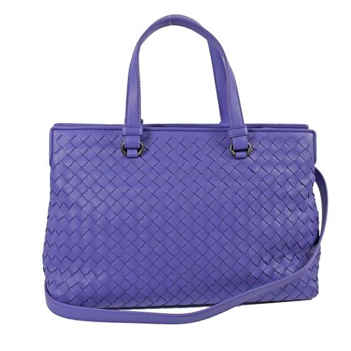 BOTTEGA VENETA 經典編織羊皮手提包.薰衣草紫