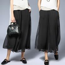 【麗質達人】6391黑色雪紡寬版長褲(XL-4XL)