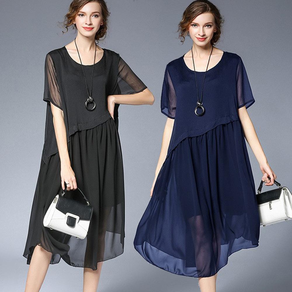 【麗質達人】6388不規則下擺雪紡洋裝(XL-4XL)