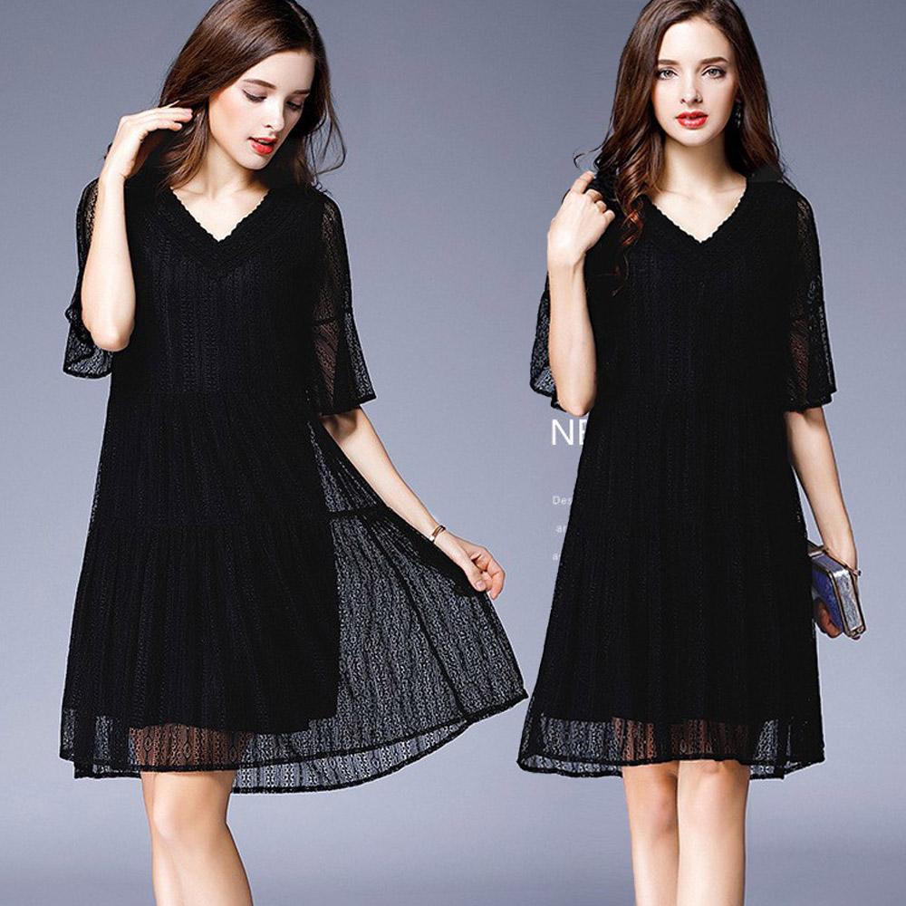 【麗質達人】3495黑色蕾絲V領洋裝(L-5XL)