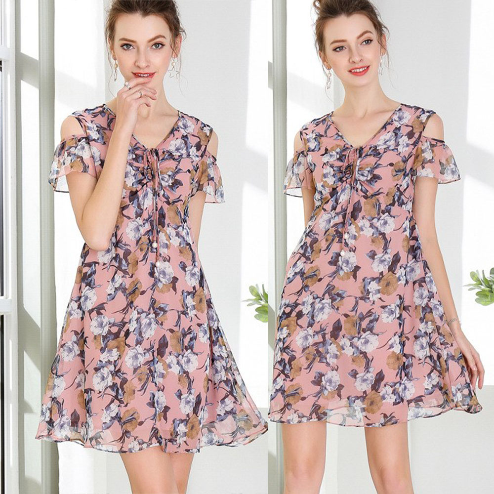 【麗質達人中大碼】7735粉色雪紡印花洋裝(M-5XL)