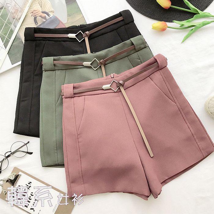 【韓系女衫】M~L菱型腰帶雪紡側口袋都會百搭短褲-3色